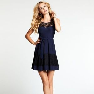 GUESS Navy Blue Mix Black Lace Pleated Dress
